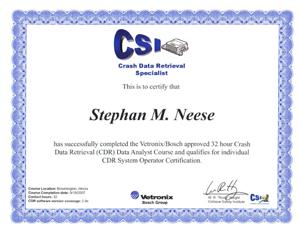 CDR Certification | Stephan M. Neese & Associates